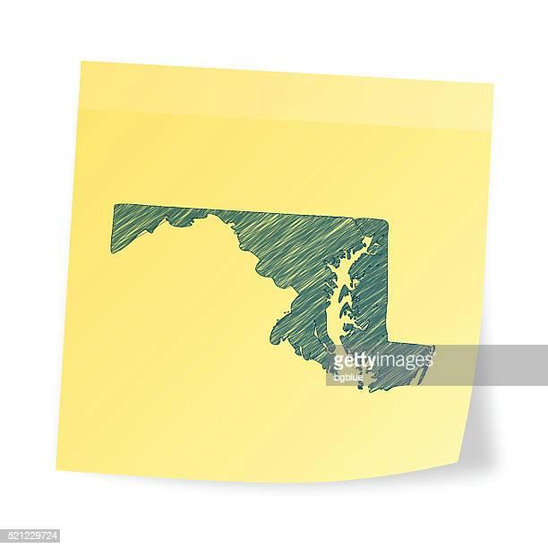 ilustraciones, imágenes clip art, dibujos animados e iconos de stock de mapa de maryland en nota adhesiva con efecto garabato - maryland us state