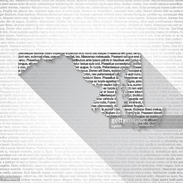 Maryland Map on Text Background - Long Shadow
