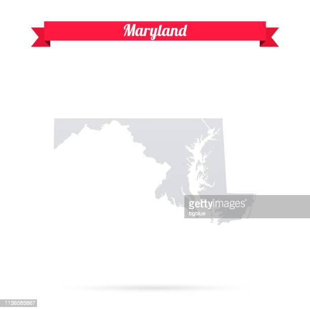 maryland map on white background with red banner - maryland us state stock illustrations, clip art, cartoons, & icons