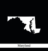Maryland map outline vector printable in black and white background