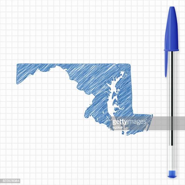 Maryland map sketch on grid paper, blue pen