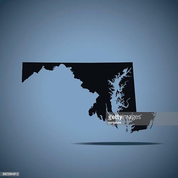 ilustraciones, imágenes clip art, dibujos animados e iconos de stock de mapa de maryland  - maryland us state