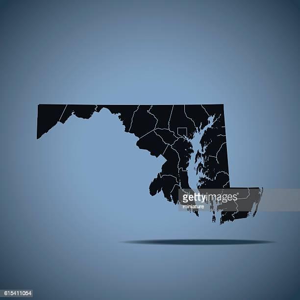 ilustraciones, imágenes clip art, dibujos animados e iconos de stock de maryland map - maryland us state