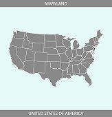 Maryland map vector outline highlighted in USA map gray background