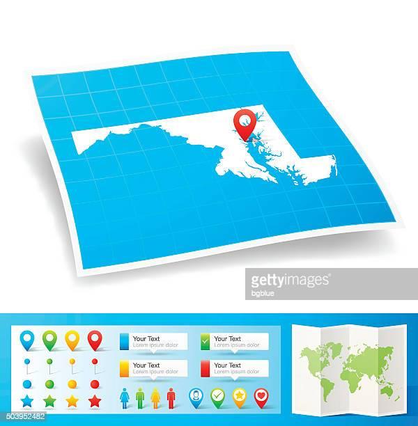 ilustraciones, imágenes clip art, dibujos animados e iconos de stock de maryland, mapa con pasadores de ubicación aislado sobre fondo blanco - maryland us state
