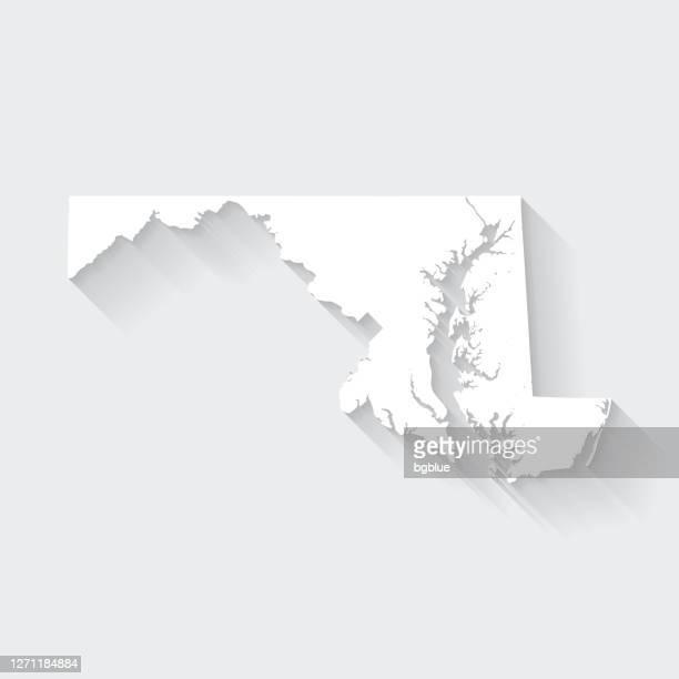 illustrazioni stock, clip art, cartoni animati e icone di tendenza di mappa del maryland con lunga ombra su sfondo vuoto - flat design - maryland stato