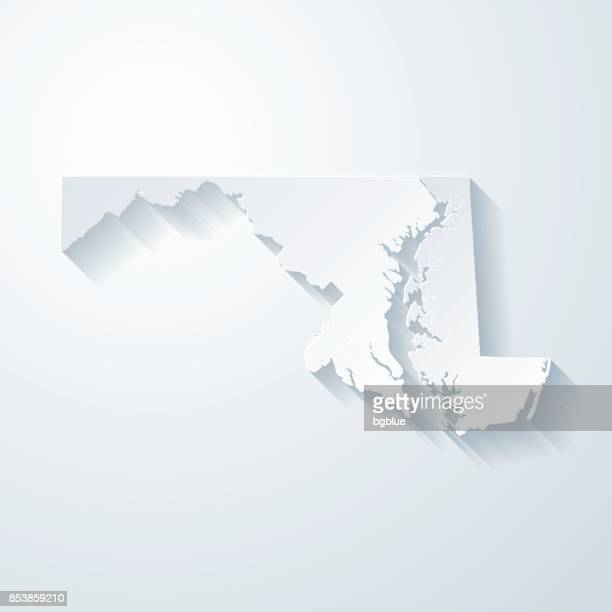 maryland map with paper cut effect on blank background - maryland stock illustrations, clip art, cartoons, & icons