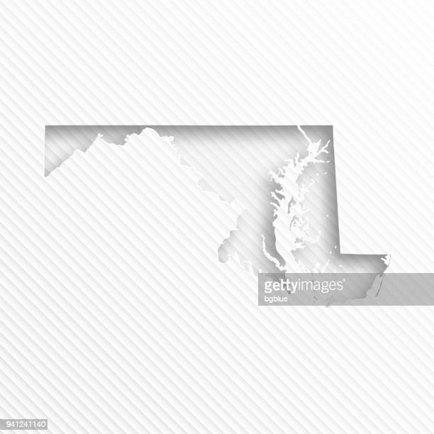 Maryland map with paper cut on abstract white background