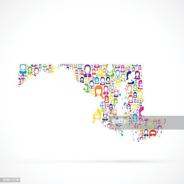 ilustraciones, imágenes clip art, dibujos animados e iconos de stock de mapa con personas de maryland - maryland us state