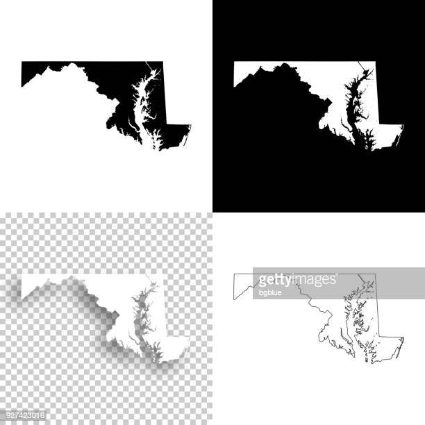 illustrazioni stock, clip art, cartoni animati e icone di tendenza di mappe del maryland per il design - sfondi vuoti, bianchi e neri - maryland stato