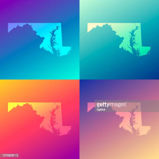 maryland maps with colorful gradients - trendy background - maryland us state stock illustrations, clip art, cartoons, & icons