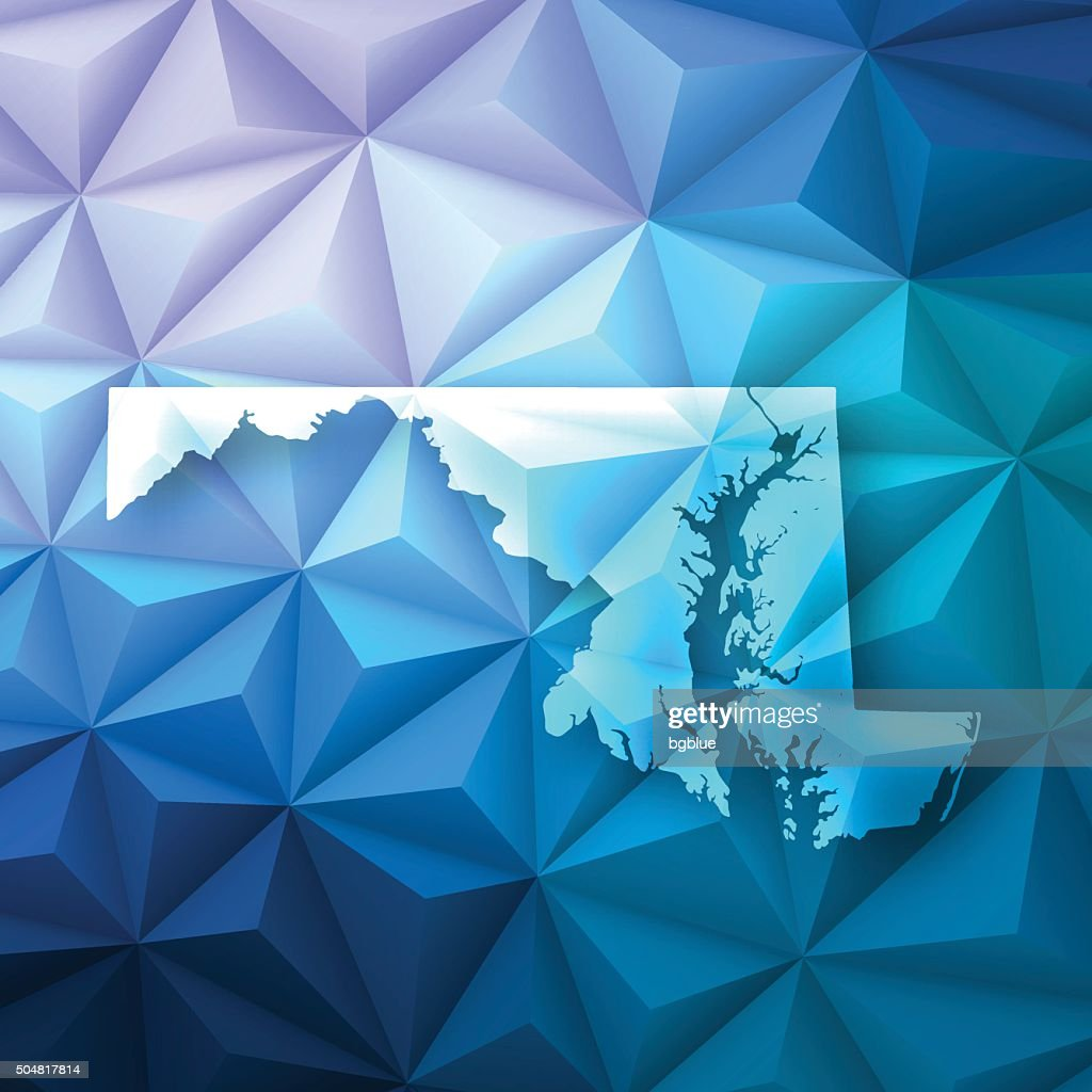 Maryland on Abstract Polygonal Background - Low Poly, Geometric : stock illustration
