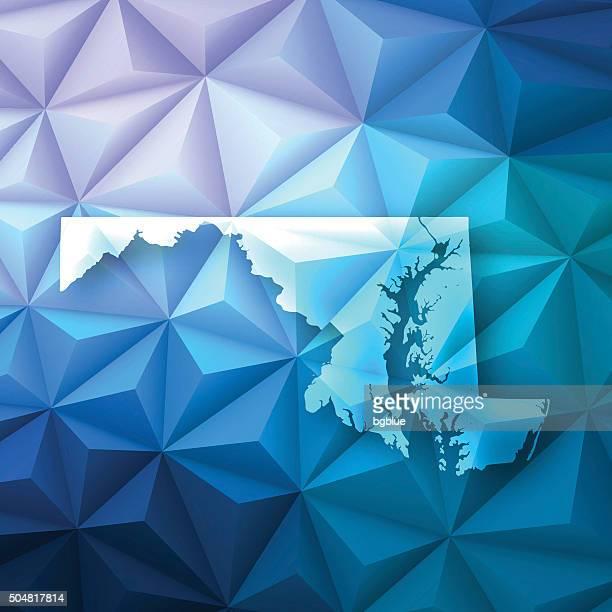 ilustraciones, imágenes clip art, dibujos animados e iconos de stock de maryland en abstract polygonal fondo de tecnología, geométricas - maryland us state