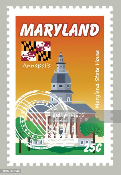 maryland postage - post office stock illustrations, clip art, cartoons, & icons