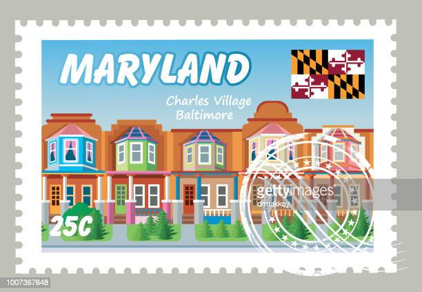 maryland postage - baltimore maryland stock illustrations, clip art, cartoons, & icons