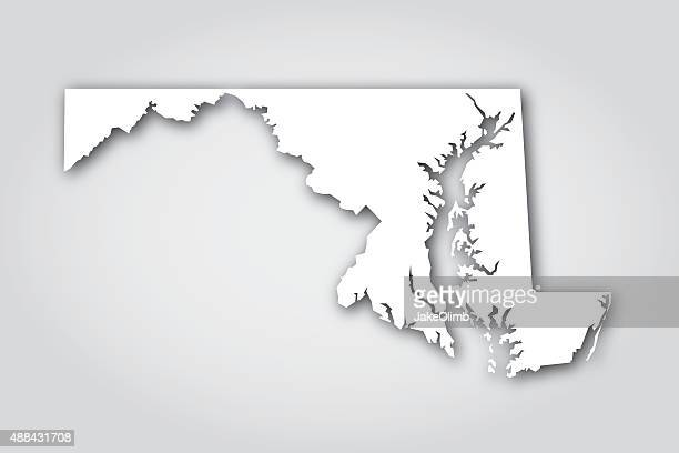 maryland silhouette white - maryland stock illustrations, clip art, cartoons, & icons
