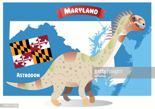 maryland state dinosaur (astrodon) - chesapeake bay stock illustrations, clip art, cartoons, & icons