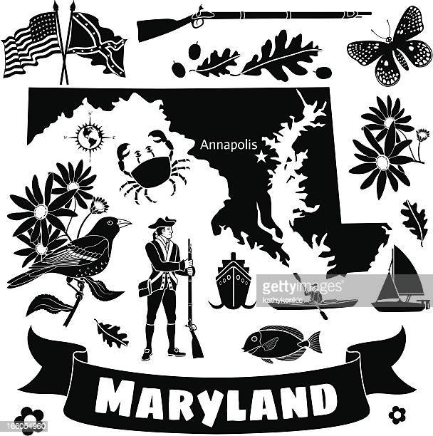 maryland state map and icons - maryland stock illustrations, clip art, cartoons, & icons