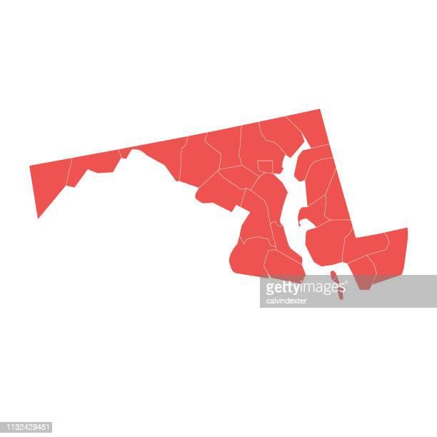 ilustraciones, imágenes clip art, dibujos animados e iconos de stock de mapa del estado de maryland con condados - maryland us state