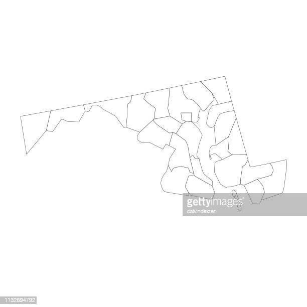 ilustrações, clipart, desenhos animados e ícones de mapa do estado de maryland com condados - maryland us state