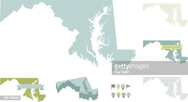 maryland state maps - maryland stock illustrations, clip art, cartoons, & icons