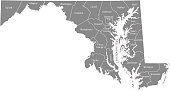 Maryland state of USA county map vector outlines illustration with counties names labeled in gray background. Highly detailed county map of Maryland state of United States of America