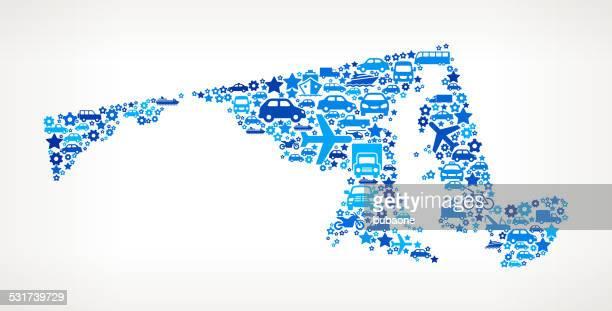 ilustraciones, imágenes clip art, dibujos animados e iconos de stock de estado de maryland en transporte de arte vectorial sin royalties de patrón - maryland us state