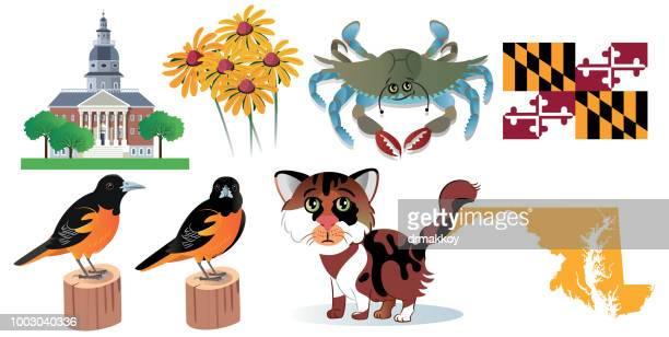 maryland symbols - maryland stock illustrations, clip art, cartoons, & icons