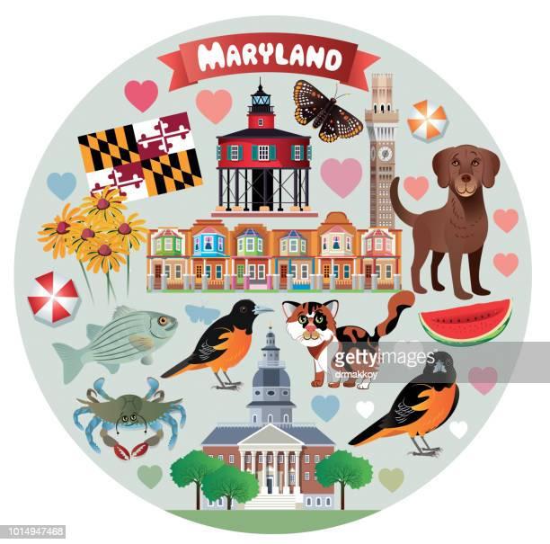 maryland travel - maryland stock illustrations, clip art, cartoons, & icons