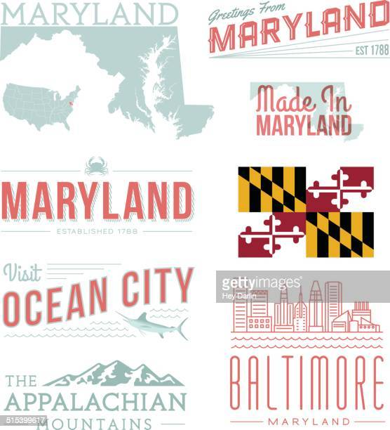 maryland typography - baltimore maryland stock illustrations, clip art, cartoons, & icons