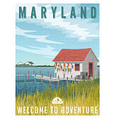 Maryland, United States travel poster or sticker. Fishing shack with crab traps and buoys.
