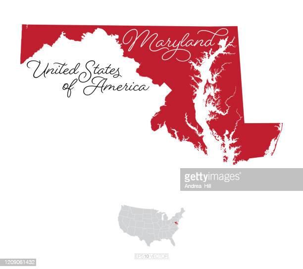 ilustrações, clipart, desenhos animados e ícones de ilustração do mapa aquarela de maryland usa - maryland estado