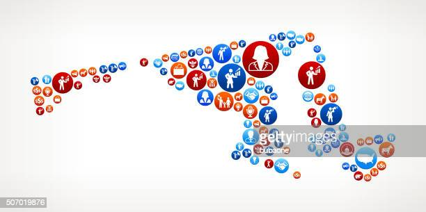 ilustraciones, imágenes clip art, dibujos animados e iconos de stock de maryland votación y las elecciones usa patriótica estadounidense icono de diseño - maryland us state
