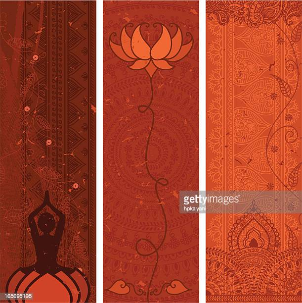 masala banners - orange - lotus position stock illustrations, clip art, cartoons, & icons