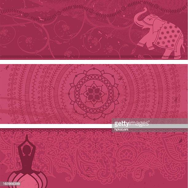 masala banners pink - lotus position stock illustrations, clip art, cartoons, & icons