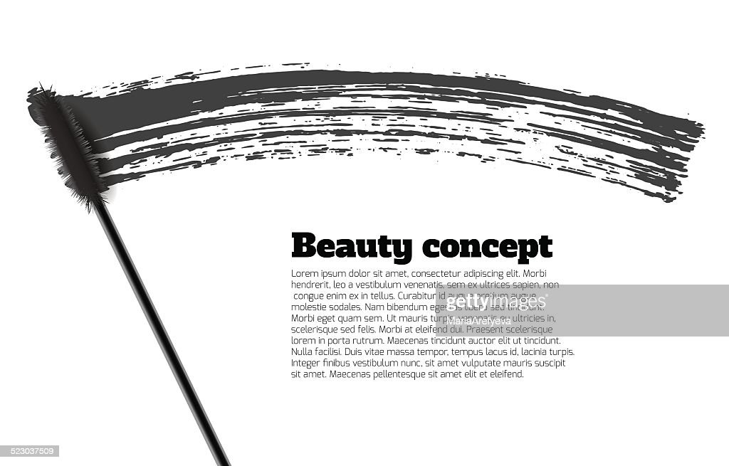 Mascara brush stroke vector, beauty background