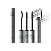 A mascara tube and a wand applicator. Cosmetic silver bottle with eyelash brush. Isolated on white background. Grunge swatch, black wavy brush stroke hand drawn. 3d realistic vector