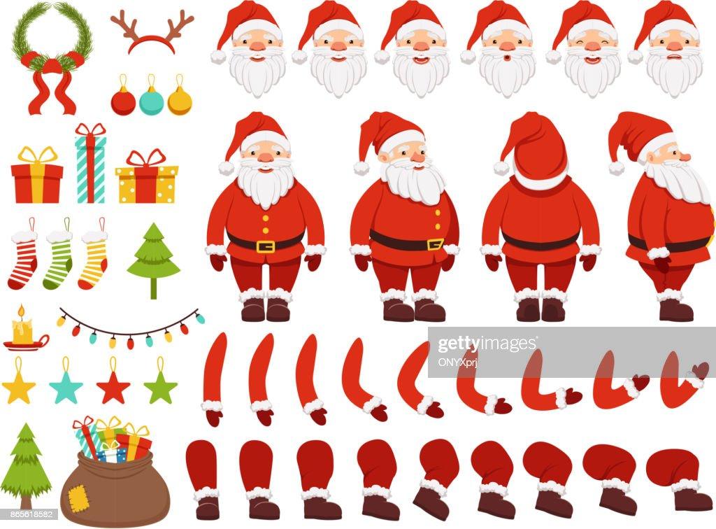 Mascot creation kit of christmas character. Santa in different keyframes