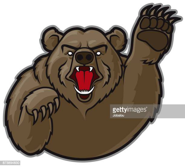 mascot grizzly bear - cartoon characters with big teeth stock illustrations