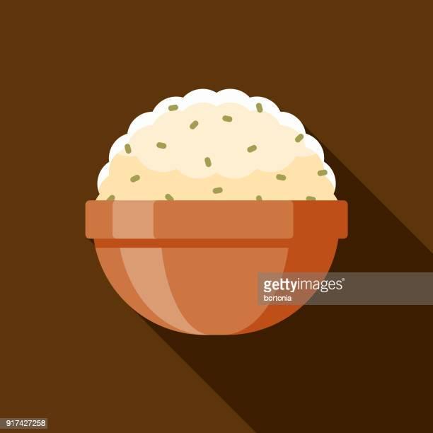 ilustraciones, imágenes clip art, dibujos animados e iconos de stock de puré de patatas diseño plano icono de acción de gracias - patatas preparadas