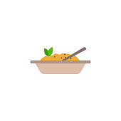 mashed potatoes in a plate colored illustration. Element of colored food icon for mobile concept and web apps. Detailed mashed potatoes in a plate icon can used for web and mobile