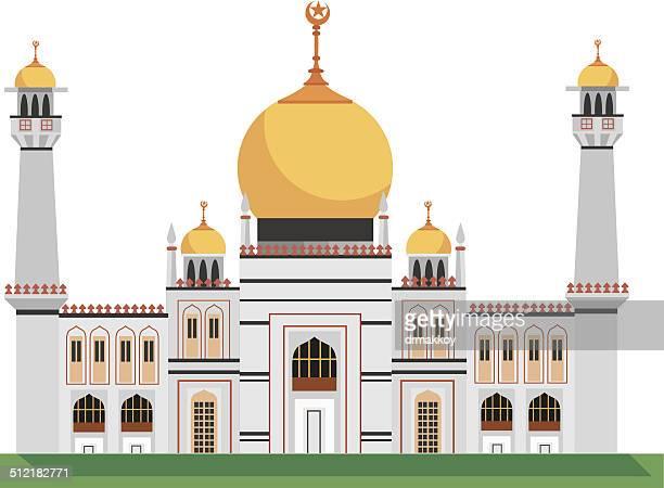 マスジッドスルタンモスク - シンガポール国旗点のイラスト素材/クリップアート素材/マンガ素材/アイコン素材