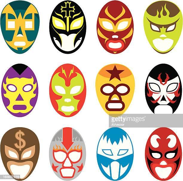 mask fight - wrestling stock illustrations