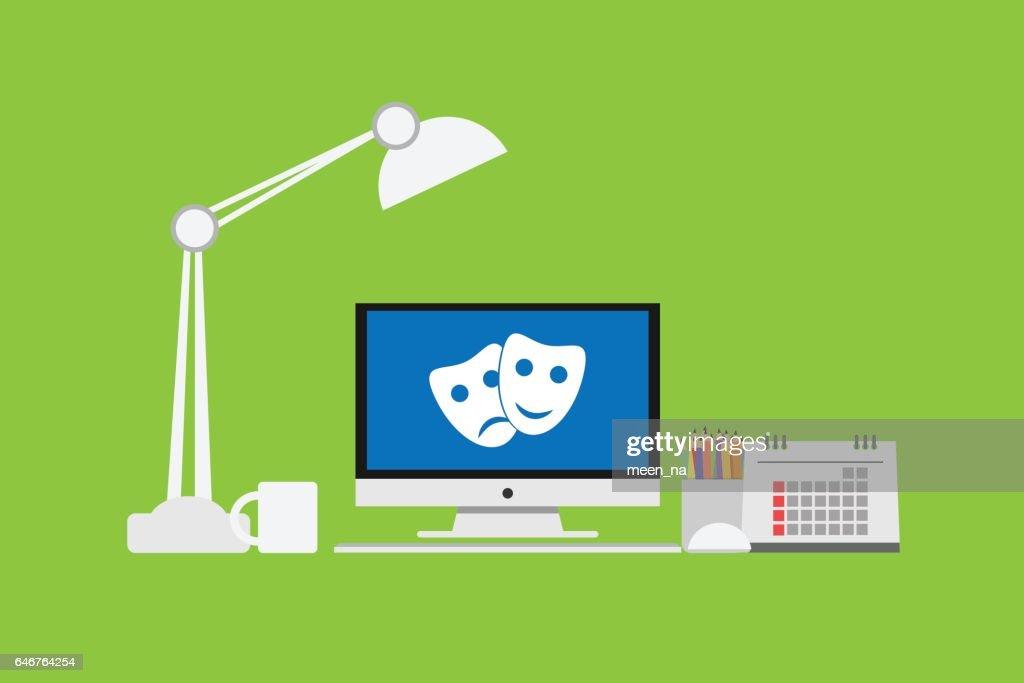 Mask icon on Computer Monitor Vector  monitor display