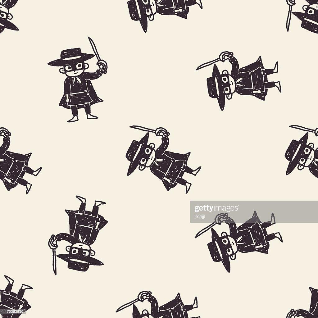 mask man doodle seamless pattern background