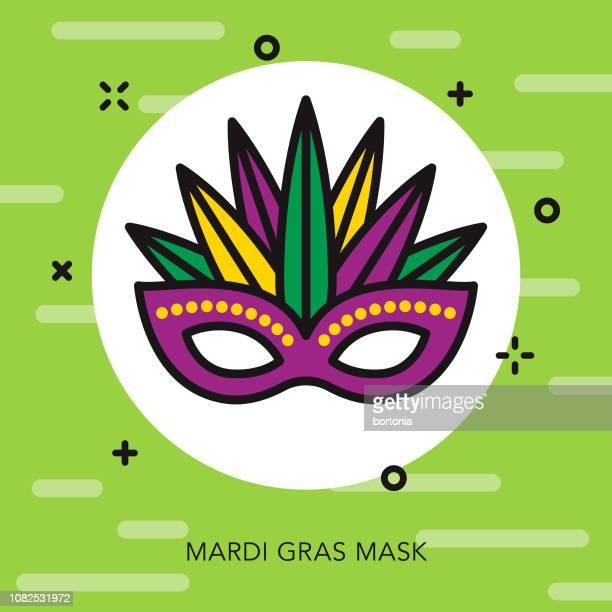 bildbanksillustrationer, clip art samt tecknat material och ikoner med maskikonen tunn linje mardi gras - gras