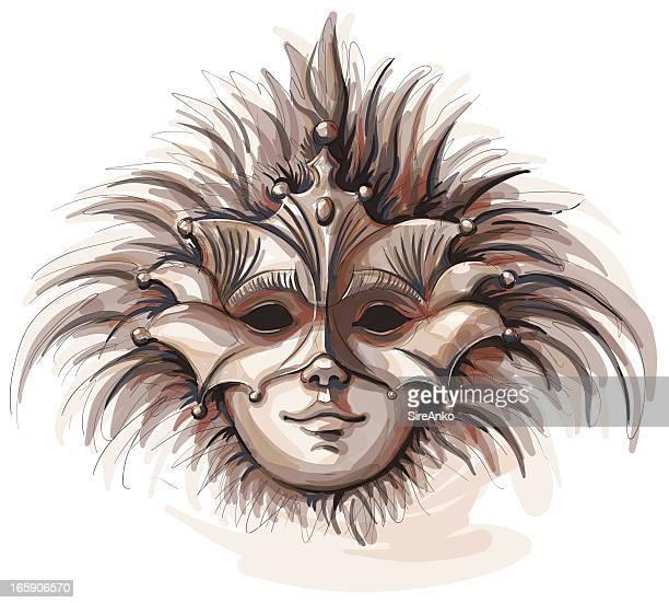 illustrazioni stock, clip art, cartoni animati e icone di tendenza di maschera - maschere veneziane