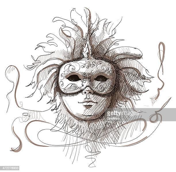 mask - venice italy stock illustrations, clip art, cartoons, & icons