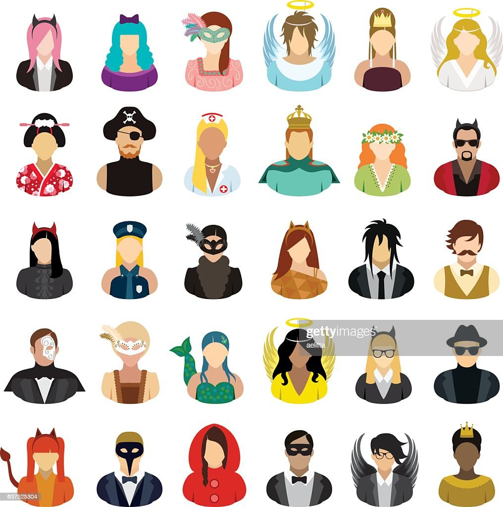 Masked people icons set.