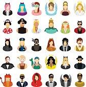 Masked people icons set.